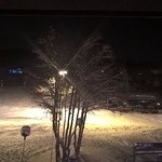 Night view from room, ski lift to the right of the tree