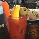Fried chicken, eggs and sausage and a SPICY Bloody Mary for brunch