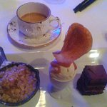 Trio of desserts at Tabor Tavern. Fruit, sundae, cake.
