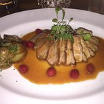 Gressingham duck breast with orange and cranberry sauce
