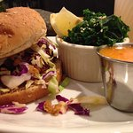 BBQ Jackfruit Sandwich with a side of kale and mango-lime vinaigrette