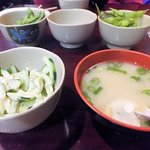 Cucumber Salad & White Miso Soup with Edemame in the background