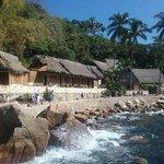 shore line- cute little huts!