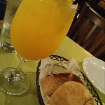 white sangria and pita basket