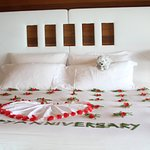 flowers decorating our bed.....