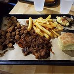 Burnt-Ends Dinner with three sides (smoked jalapenos, french fries, and fried okra) and a biscui