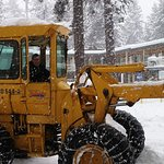 Loyd (owner) plowing the snow out front! Thanks Loyd.