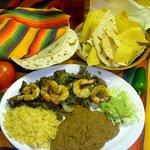 Fajitas and shrimp plate