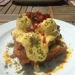 Eggs Benedict to perfection on bed of tasty hash brown