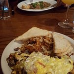 Spicy Greek omelette, hash browns and stroganoff