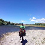 About to cross the Tukituki river on Paddy