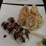Deep Fried California Roll and a Spicy Tuna Roll (actually had noticable heat)