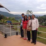 with family at the reception office of 4rivers