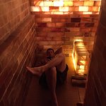 The salt room. Warm and supposed to be healing with the salt brings and floor.