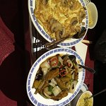 Egg foo yung and chilli and black bean aubergine.