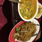 Vegetable curry and soft noodles.