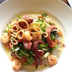Baby squid, chorizo and king prawn salad - Delicious!!