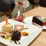 Trio of Cheese cake (front) & Chocolate cake (back)