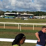 Had a great day at the races free outside the grandstand betting booths outside too Race is run