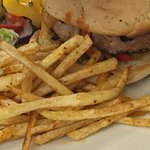 Pork & apple burger with fries