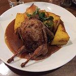 Quail Week for Carnivorous Fest! Very delicious. Polenta, house made waffle crips, stuffed Quail