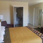 "King bed, 32"" flat screen tvs, Micro-fridge, Hair dryer, free wi-fi,"
