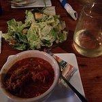 Maryland Crab Soup, Caesar Salad & wine