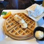 Granola waffle with banana and cream :-)