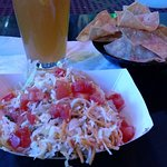 Blue Moon with mini tacos.