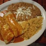 Chicken Enchiladas with refried beans and rice