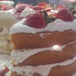 Triple Layer Strawberry Cream Cake.