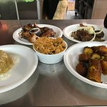 Mofongo, amarillos, ribs, carnes fritas and rice