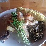 Pickerel with scallops and capers