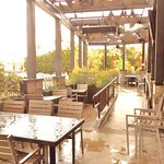 Great patio areas, just not on this rainy day.