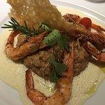 Crevettes aux piment d'espelette - risotto - tuile parmesan