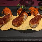 Poisson en croute de chorizo - Risotto piquillos et chorizo