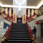 Grand entrance and staircase up to Vic's Bar.