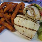 Hogfish wrap with sweet potato fries