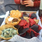 The Triple Dipper (buffalo chicken, queso, and spinach dips)