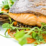 Sea Trout with lentils & mussel stew