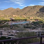 View from our room of the pool and surrounding mountains.