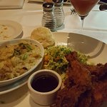 Fried Chicken, Brussel Sprouts, Cream Spaghetti Squash