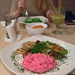 Beetroor risotto with gorgonzola and turkey with pistachio souce