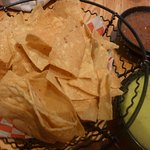 Complimentary tortilla chips and dipping sauce at Maya in Sonoma.