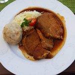 Pork, bread dumpling, and sauerkraut