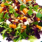 Salad Special - Mixed Green Salad with Roasted Butternut Squash, Chicken, Sunflower Seeds, Feta