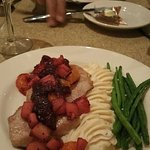 Pork Medallions with Apple and Pear Compote, Garlic Mashers and fresh Grean Beans.
