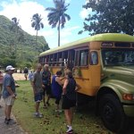 Visitors boarding our aiga bus.
