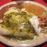 Burritos Verde served with rice and beans