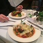 Stuffed pork chops and Shrimp w/Pasta